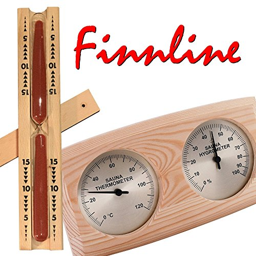 "Finnline I Sauna Thermometer - Hygrometer - Sanduhr - Set I Sanduhr mit dunkelrotem Sand I Themometer - Hygrometer - Kombination ""NELINPELI"" I Klimamesser in schönem Holzrahmen I Meßgerät I Sauna I Saunazubehör I Zubehör I Top Angebot I Prime - Versand durch Amazon"