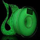 AMOLEN Stampante 3D Filamento PLA 1.75mm, Shining Glow in the Dark Verde 1KG,+/- 0.03mm Filamenti per Stampanti 3D, include Campione Filamento Marmo