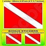 SCUBA DIVING Flagge DIVING nach unten Taucher 100mm Auto & Motorrad Aufkleber, Vinyl Sticker x1+2...