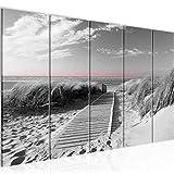 Bilder Strand Meer Wandbild 150 x 60 cm Vlies - Leinwand Bild XXL Format Wandbilder Wohnzimmer Wohnung Deko Kunstdrucke Weiß 5 Teilig - MADE IN GERMANY - Fertig zum Aufhängen 604056c