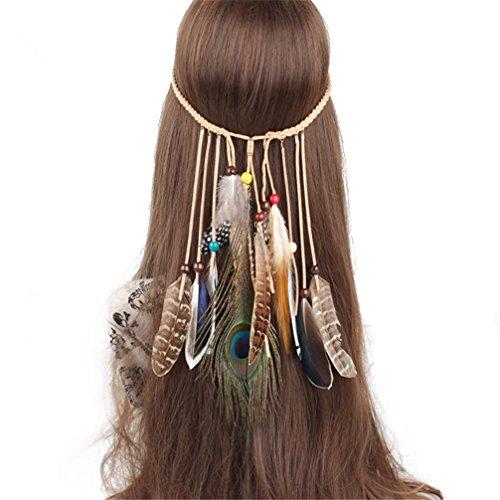 FANHOM Böhmisches Feder-Haar-Band geflochtenes (Weibliche Kostüme Hippie)