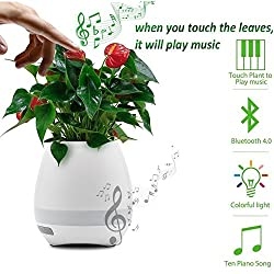 Erry Music Flowerpot, Best Gift Product- Touch Music Lamp with Rechargeable Wireless Bluetooth Speaker with Multi Color LED Night Light | With Inbuild Music
