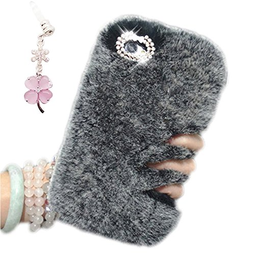 Cover per iPhone 8 Fur,Custodia per iPhone 7, Bonice Pelliccia Di Lusso Cristallo Bling [Serie peluche] ed Elegante Diamante Rex Rabbit Fur [carino] Custodia Inverno Calde Soffici Villi Eco-pelliccia  Lusso Fur - Cover - 13