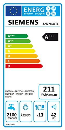 Siemens iQ700 SN278I36TE lavavajilla Independiente 13 cubiertos A+++ - Lavavajillas (Independiente, Plata, Tamaño completo (60 cm), Negro, Plata, Tocar, TFT)