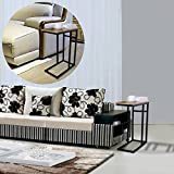 OULII Sofa Side End Table with Wood Finish and Steel Construction