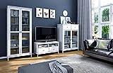 Wohnwand, Anbauwand, Schrankwand, Regalwand, Wohnzimmerschrankwand, Fernsehwand, Wohnschrank, Kiefer, weiß, Landhaus, massiv