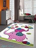 Kinderteppich Spielteppich Kinderzimmer Teppich Elefanten Design Creme Rosa Pink Grün Türkis Schwarz Größe 120x170 cm