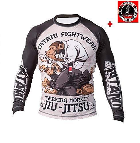 Camiseta funcional Tatami Rashguard Thinker Monkey para BJJ y MMA, color Negro , tamaño small