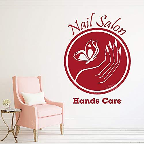 wukongsun Nagelstudio Logo Applique Vinyl Fenster Aufkleber Nail Art Fashion Art Deco Haar Salon Raum Wand Dekoration Rot 42X57cm