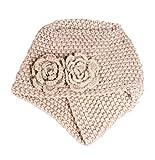 Hosaire Femme Hiver Chapeau Fille Doux Tricoté Bonnet Mode Fleurs Chaud Crochet Béret Casquette Beige