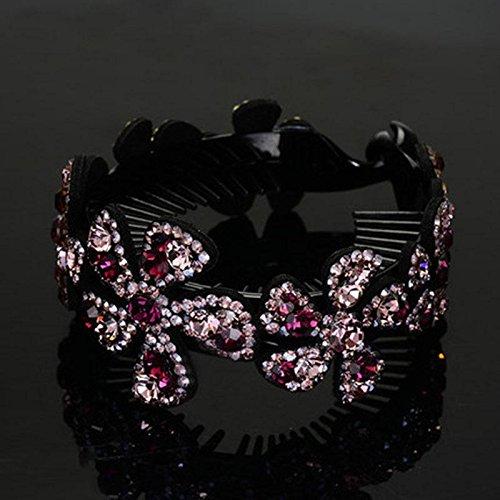 DUlijun plat boulette tête cheveux tête de bourgeon coréenne grosse tête de cercle clip épingle de cheveux de bijoux en diamant queue de cheval torsion boucle bar purple