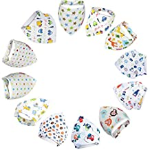 Bebedou 12 PACK boys Super Absorbent Pure Cotton Stylish Bandana / Dribble Bib animals zoo forest design for Babies and Toddler. Newborn Gift pack baby shower