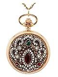 JSDDE Taschenuhr Halskette Blumen Quarzuhr Rosengold pocket watch Umhängeuhr Quarzwerk mit Kette Kettenuhr Schmuck,#3