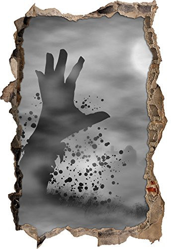 Monocrome, erwachender Zombie Wanddurchbruch im 3D-Look, Wand- oder Türaufkleber Format: 92x62cm, Wandsticker, Wandtattoo, Wanddekoration