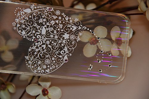 Durchsichtig Huelle für iPhone 5S, Felfy luxus Ultra Slim Bling Shiny Sparkle Diamant Dünnen Apple iPhone 5S 5 Cool Love Heart Muster Weiche Flexible Gel TPU Handy Tasche Back Case Cover Protective Zu Love Heart