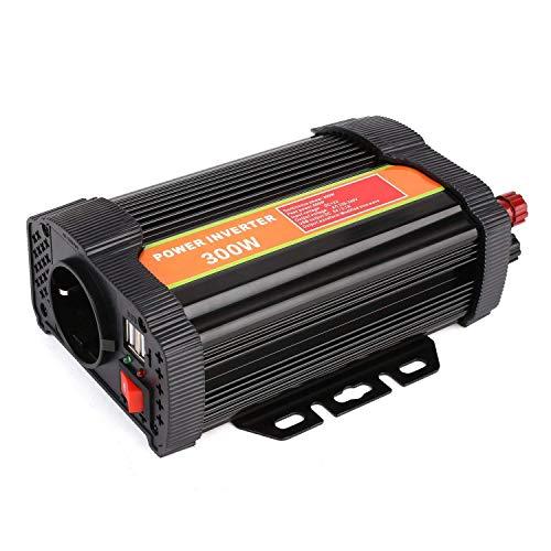 MVpower 300/ 600/700/1000W Inversor de Corriente para DC 12V a AC 220V con 2 Puertos USB DC5V-2.1A Transformadores de Corriente de Viaje Material de Aluminio Color Negro (300w)