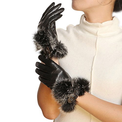 WARMEN Gants pour Femme en Cuir Nappa véritable avec Boucle design Revers en Fourrure de Lapin Noir