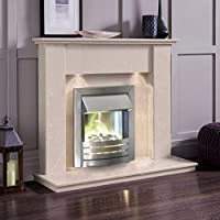 Cream Marble Stone Surround Electric Fireplace Suite Brushed Silver Electric Fire Pebble Glow & Downlights