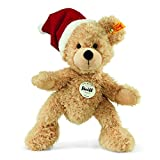 Steiff 110795 - Teddybär Fynn mit Weihnachtsmütze, 24cm, beige