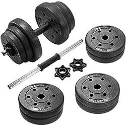 SONGMICS 20 kg Juego de Pesas Mancuernas de Fitness Ideal para Hombres Negro SYL20HV1