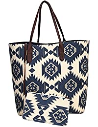 PITARA Canvas Women Trendy Tote Bag (Blue & White, P19)