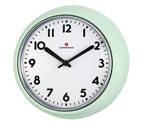 Zassenhaus 72945Retro Reloj de pared Diámetro 24cm Verde Menta, aluminio,...