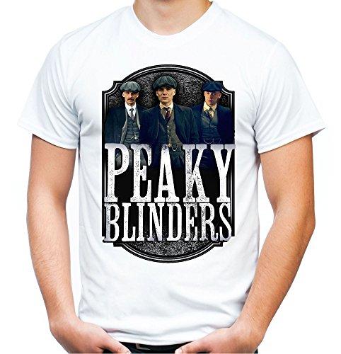 Peaky Blinders Männer und Herren T-Shirt | Gangster Shelby Tommy ||| M1 (L, Weiß)