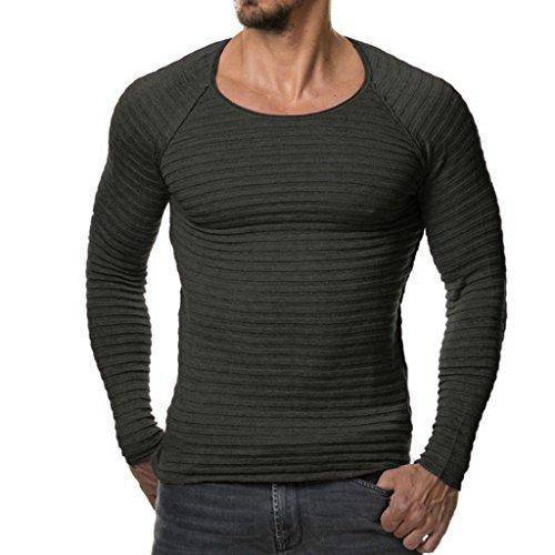 Maglia maglione uomo, feixiang uomo autunno inverno casuale v-collo uomo slim maglioni cime camicetta-miscela di cotone (grigio scuro, l)