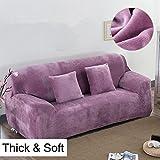 Copridivano spesso per sofà a 1/2/3/4 posti, colorato, in tessuto elasticizzato vellutato per un'aderenza perfetta e facile, Light Purple, 4 Seater:235-300cm