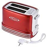 Nostalgia Electrics RTOS200 - Tostadora de Pan,5 Niveles de Calefacción,650W,Color Rojo Metálico