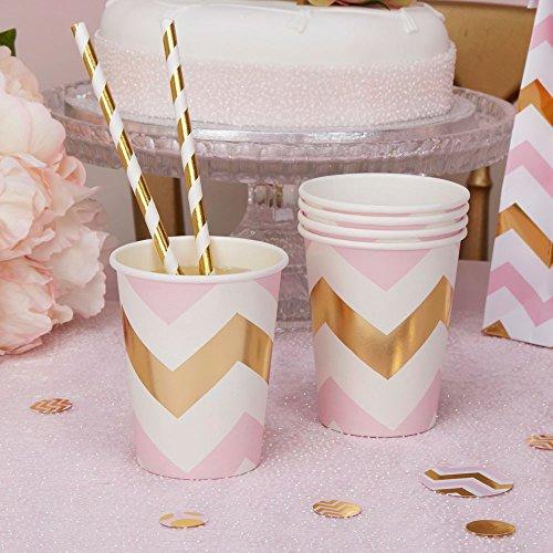 Pappbecher Zickzack rosa gold 250 ml 8 Stück - Einwegbecher Hochzeit Zickzack rosa gold Partybecher Baby Shower Babyparty Kindergeburtstag Chevron rosa gold