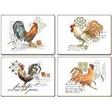 """CALA Home - Sets de Table """"Watercolour Rooster"""" Boîte de 4"""