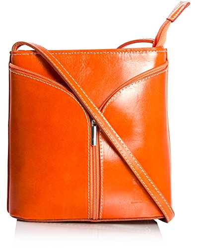 Big Handbag Shop Borsetta piccola a tracolla, vera pelle italiana Orange