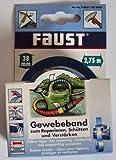 Faust Gewebeband zum Reparieren, schützen u. verstärken, Farbton Schwarz / 38 mm x 2,75 m