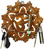 #6: SKAVIJ Wooden Key Holder for Home Wall Mounted Key Rack Hanger Hindu Om Design