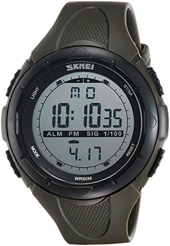SKMEI Analog-Digital Green Dial Men's Watch - DG1025 (Gent Size Army Green)