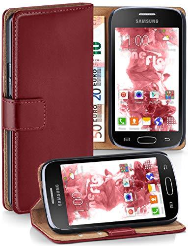 moex Samsung Galaxy Trend Plus | Hülle Dunkel-Rot mit Karten-Fach 360° Book Klapp-Hülle Handytasche Kunst-Leder Handyhülle für Samsung Galaxy Trend Plus/Trend Case Flip Cover Schutzhülle Tasche