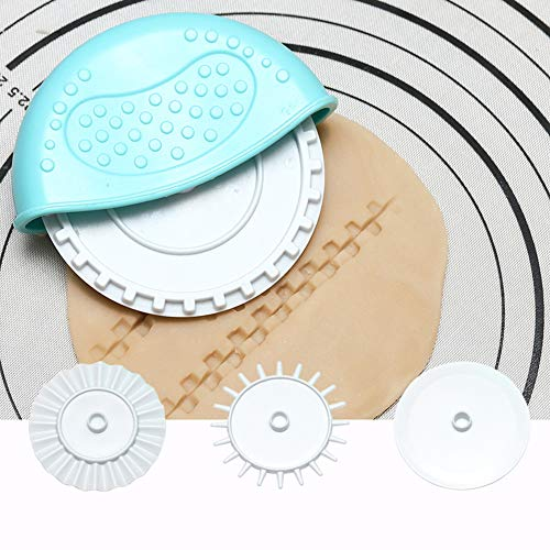 DIY Kuchen Form rund Rad Cutter Küche Backen Fondant Roller Messer Werkzeug blau ()