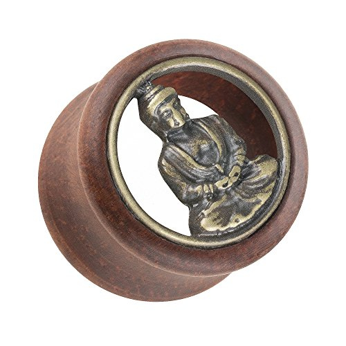Piersando Ohr Plug Flesh Tunnel Piercing Ohrpiercing Organic Double Flared Holz mit Buddha Zeichen Inlay Braun Gold 20mm - 20 Antik Gold Blatt