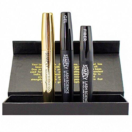 3d Fiber Lash Mascara Gold by Simply Naked Beauty - with Eyelash Enhancer Mascara Base - Waterproof...