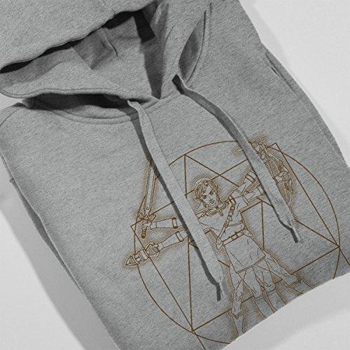 Zelda Vitruvian Link Women's Hooded Sweatshirt Heather Grey