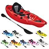 Bluewave Single Sit On Top Fishing Kayak | With 5 Rod Holders, 2 Storage Hatches, Padded Seat & Paddle (Red)
