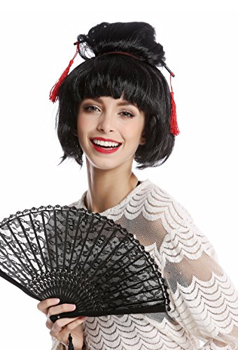 Wig me up ® -90747-za103 parrucca donna halloween carnevale japan geisha maiko chinagirl asiatica crocchia acconciatura raccolta nero