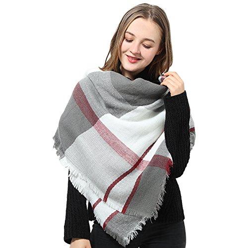 Damen Schal XXL Großer Schal Rosa Karierter Schal Winter Karo übergroßer Dreieck Dicker Schal Damen