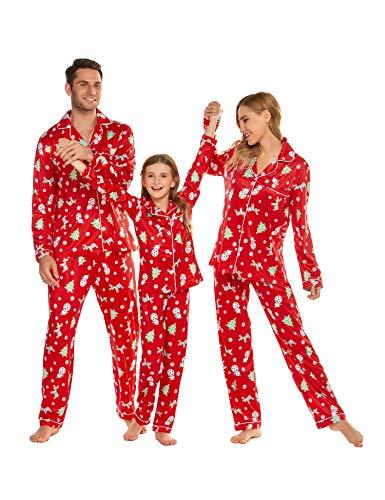 ADOME Schlafanzug Familie Outfits Hemd Pyjama und Hose Pyjama Set für Kinder, Jungen, Mädchen, Herren,Damen, Pat2, Gr.- Herren (XL)