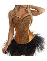JL Sequin Shinning Satin Overbust Boned Corsets Bustier with Mini TUTU