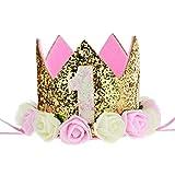 Aiernuo bébé Premier anniversaire Couronne Doré Fleur Diadème Bandeau d'anniversaire Chapeau de fête