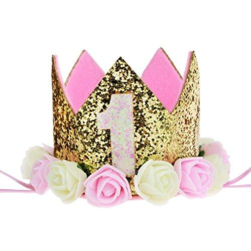 Aiernuo bébé Premier anniversaire Couronne Doré Fleur Diadème Bandeau d