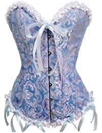 E-Girl Tapisserie de fleurs corset avec G-String, Bleu