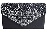 Ladies Diamante Envelope Clutch Bag Evening Bag Bridal Wedding Bag Handbag (Black)